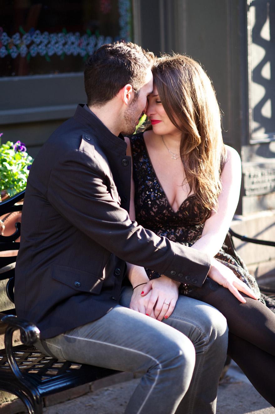 Engagement photos taken in Brooklyn near the Brooklyn Bridge by Brooklyn Wedding Photographer XOANDREA
